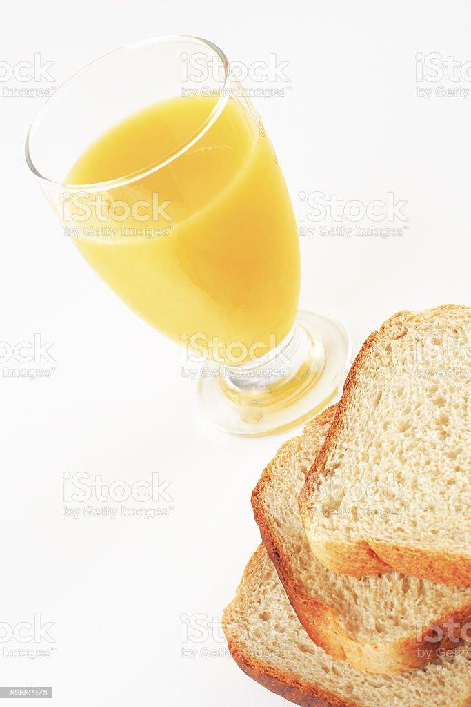Brot und orange juice Lizenzfreies stock-foto