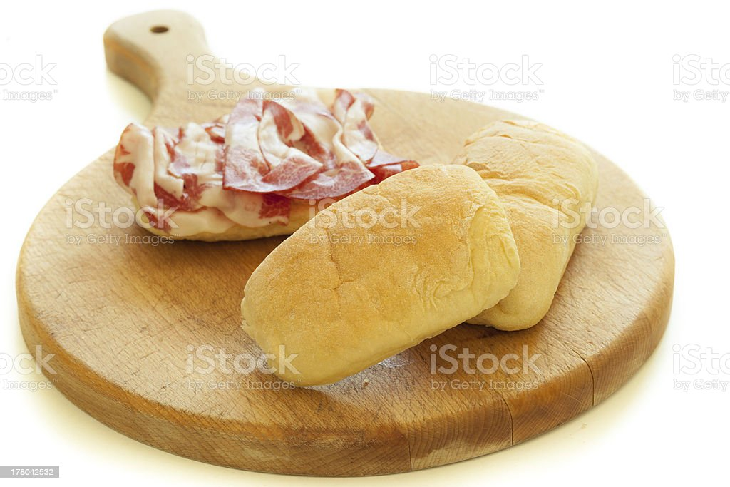 Bread and Salami royalty-free stock photo