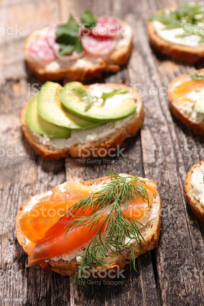 bread and smoked salmon stock photo