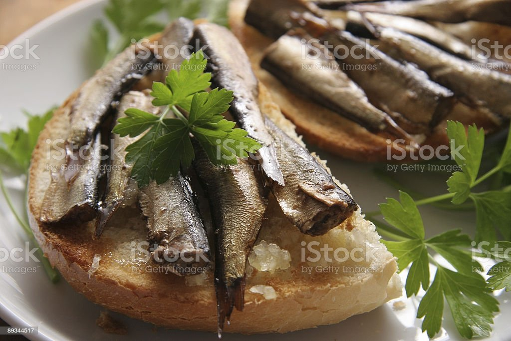 Bread and sprats. stock photo