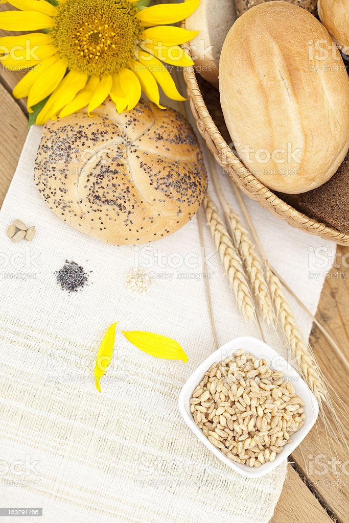 Bread and sunflower royalty-free stock photo