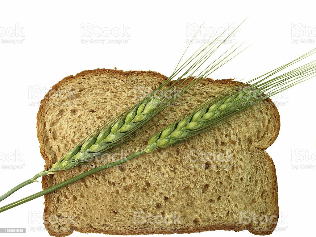 Bread and Wheat Spikes royalty-free stock photo