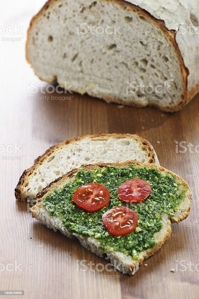 Bread and wild garlic pesto royalty-free stock photo