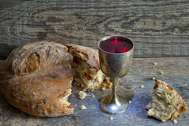 bread and wine holy communion sign easter symbol - communion stock photos and pictures