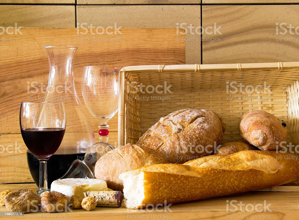 Bread and Wine royalty-free stock photo