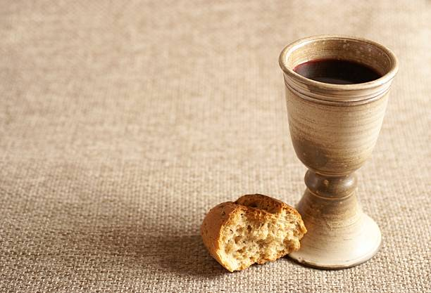bread and wine - communion stock photos and pictures