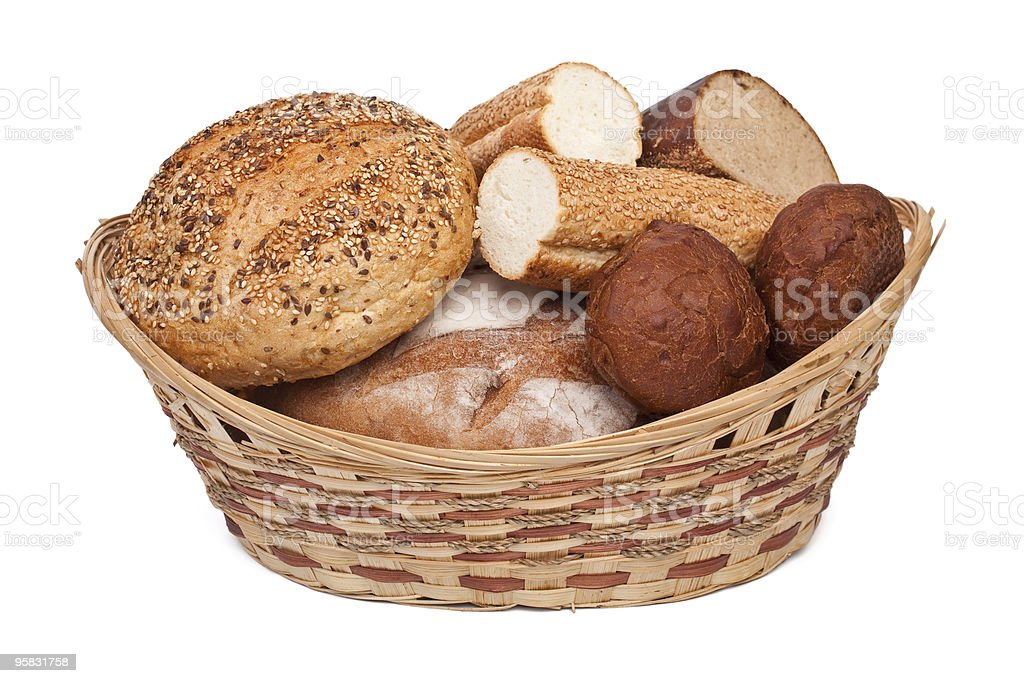 bread assortment in a basket royalty-free stock photo