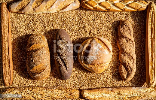 Bread frame assortment in a wheat cereal grain background
