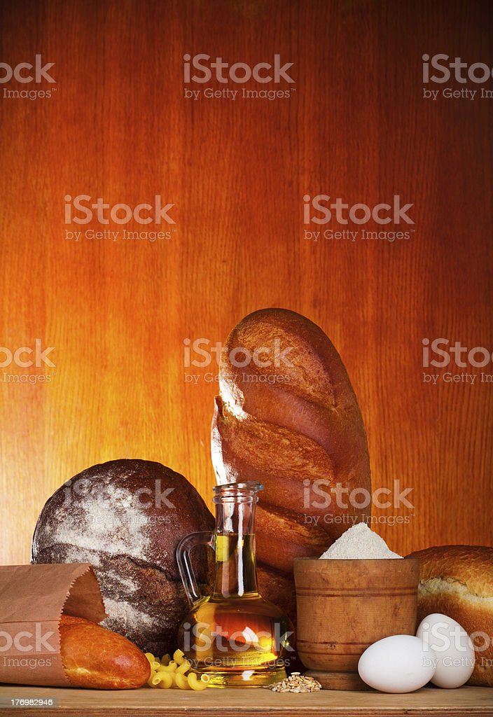 Bread baking ingredients royalty-free stock photo