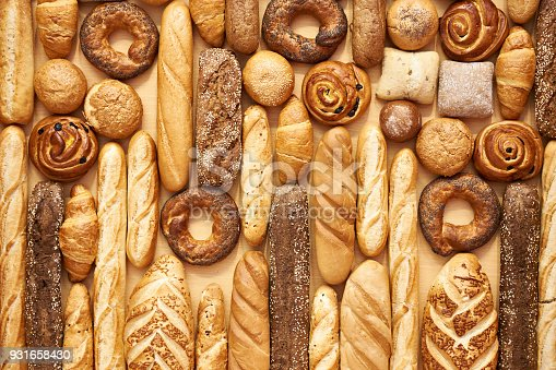 istock Bread baking rolls and croissants 931658430