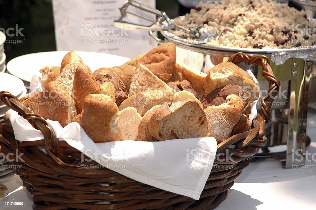 Bread basket at the buffet royalty-free stock photo