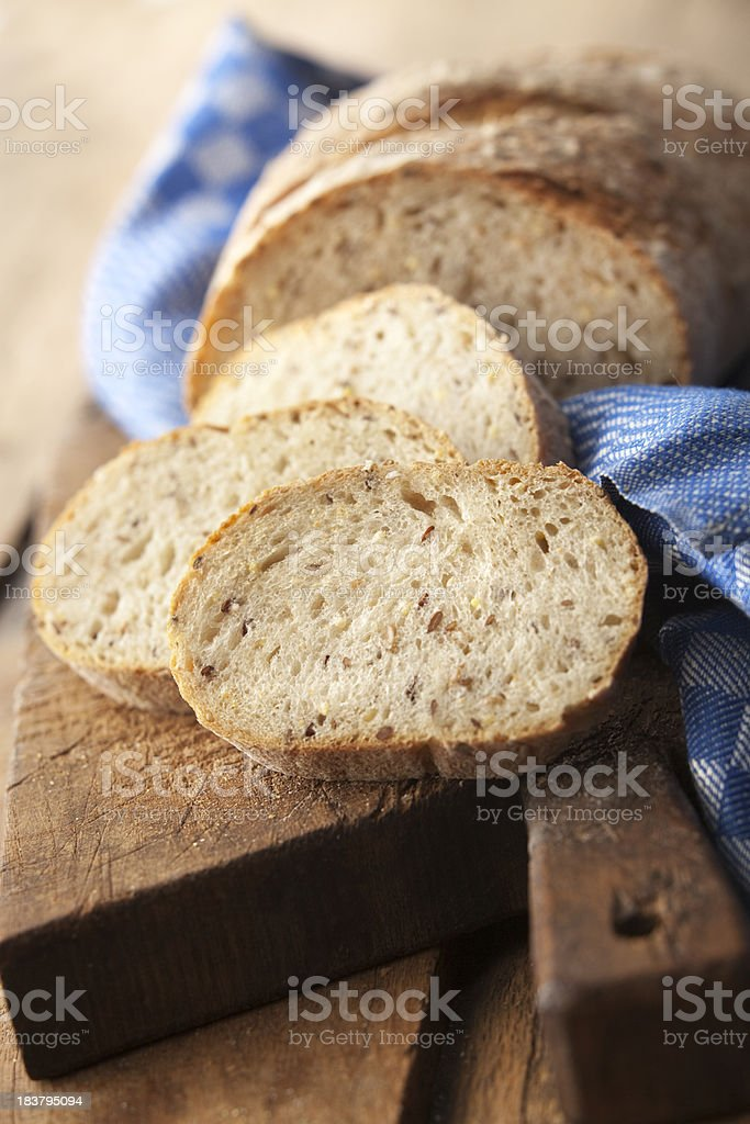 Bread: Bread on Cutting Board Still Life royalty-free stock photo