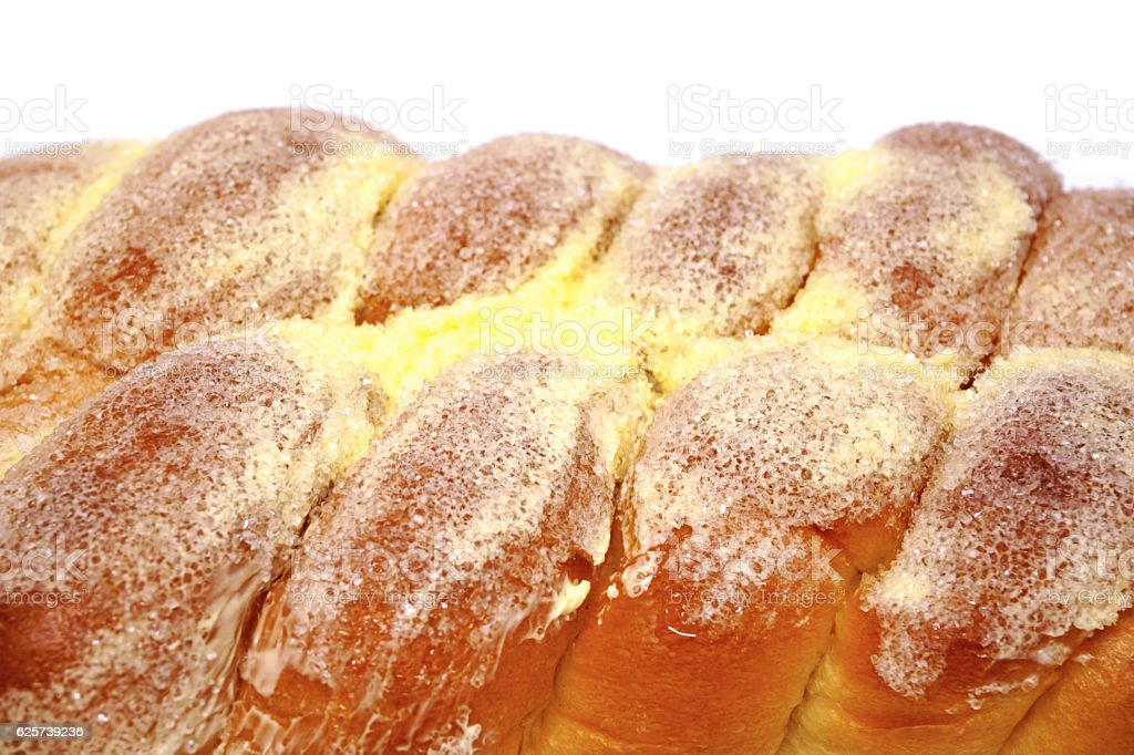 Bread, butter, sprinkled with sugar stock photo