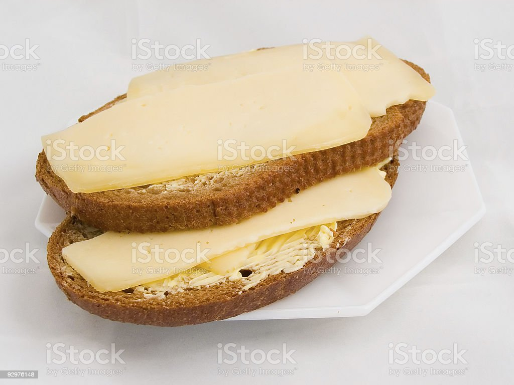 Bread, cheese and butter royalty-free stock photo