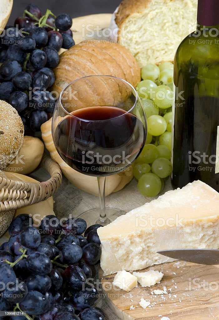 Bread Cheese and Wine 1 royalty-free stock photo