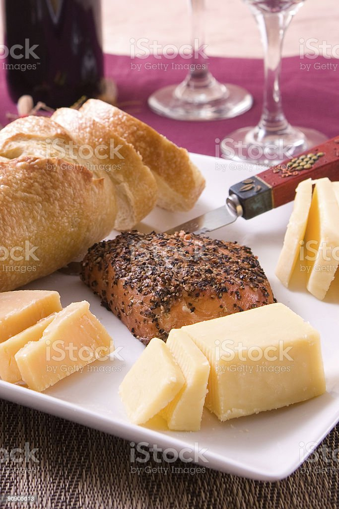 Bread, Cheese, Salmon, Wine royalty-free stock photo