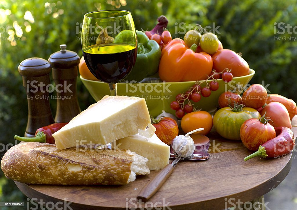 Bread, Cheese & Wine, Homegrown Vegetables Produce, Picnic Food Outdoors royalty-free stock photo