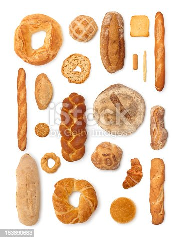 Different breads isolated on white.
