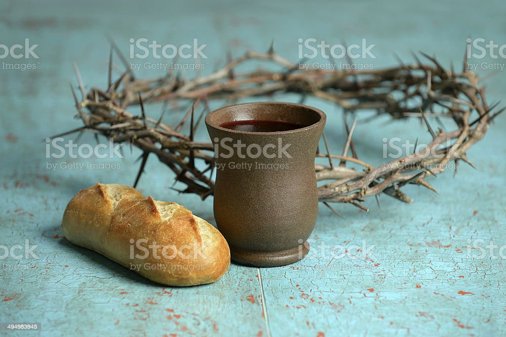 Bread, Crown and Crown of Thorns stock photo