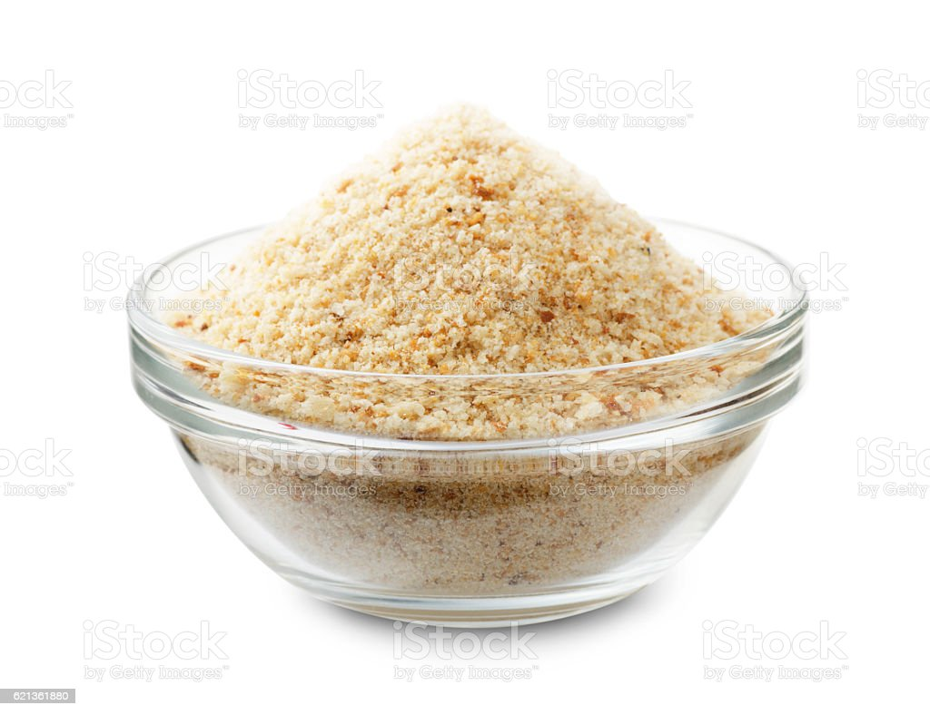 Bread crumbs in a glass bowl stock photo