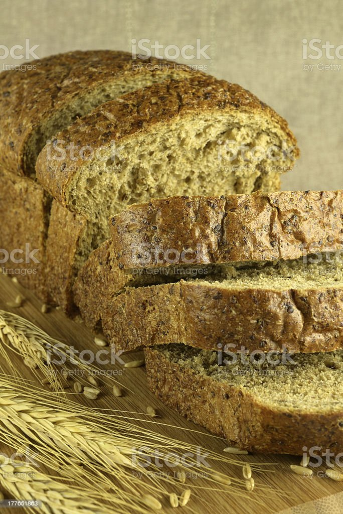 Bread cut on a blurry background royalty-free stock photo
