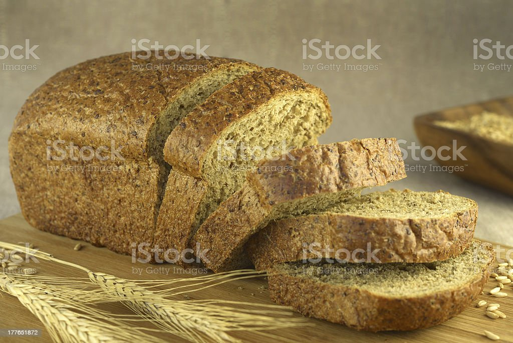 Bread cut on a blurry background stock photo