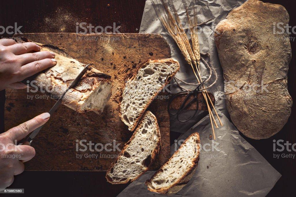 Bread Cut stock photo