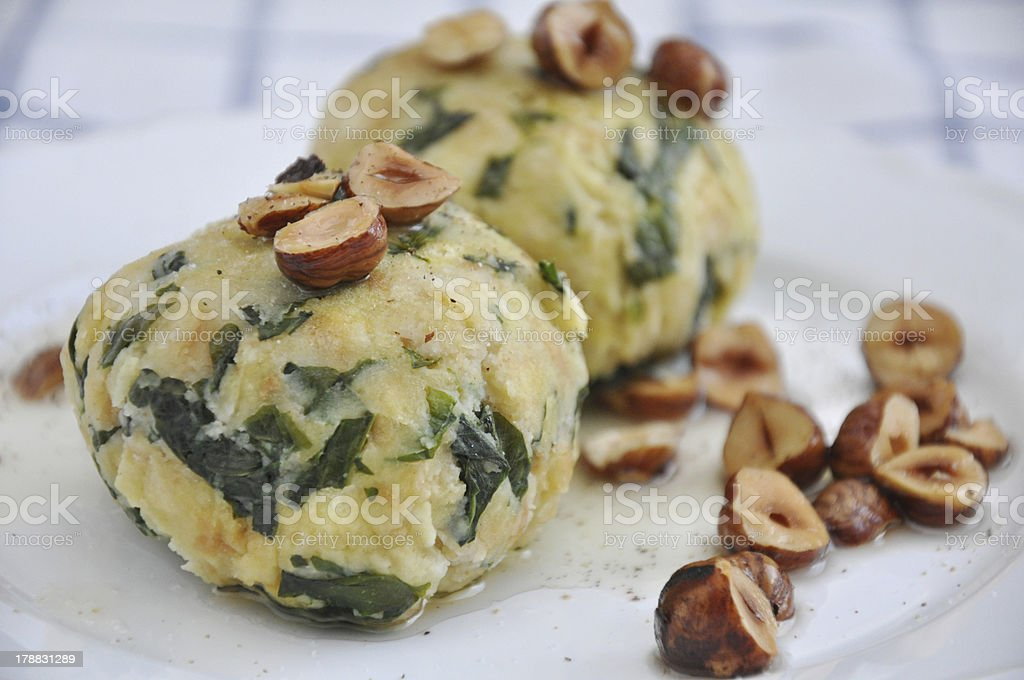bread dumpling with spinach royalty-free stock photo