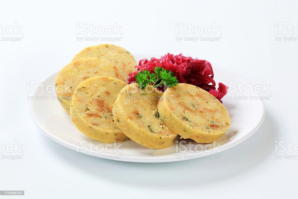 Bread dumplings with red sauerkraut royalty-free stock photo