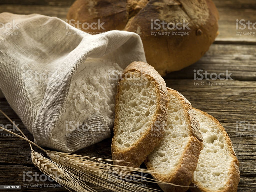 bread ear and flour royalty-free stock photo