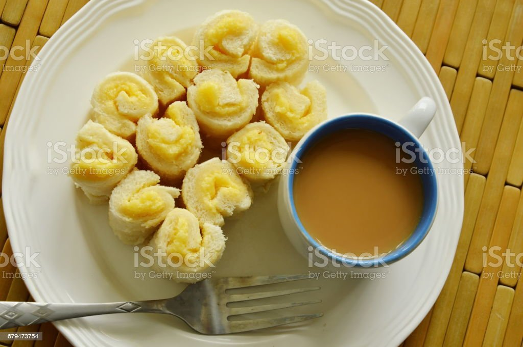 bread filled butter roll with coffee 免版稅 stock photo