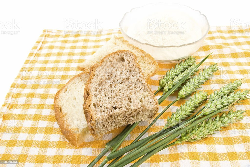 Bread, flour and wheat royalty-free stock photo