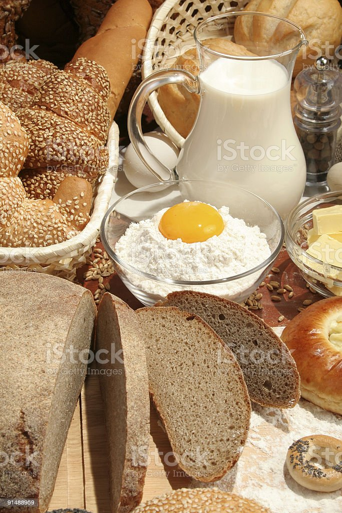 Bread, flour, milk, butter, eggs royalty-free stock photo