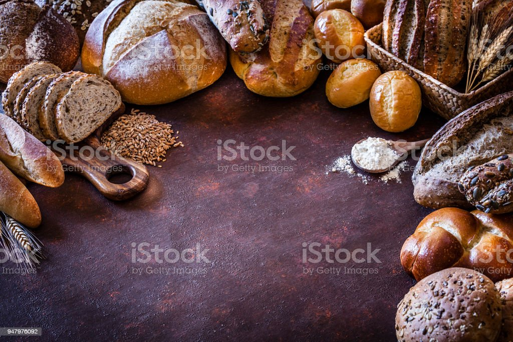 Bread frame on rustic table stock photo