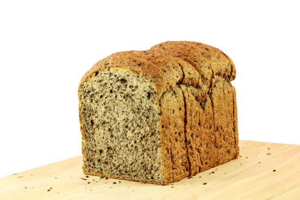 Bread from wheat flour, whole grain bread with sesame seeds stock photo