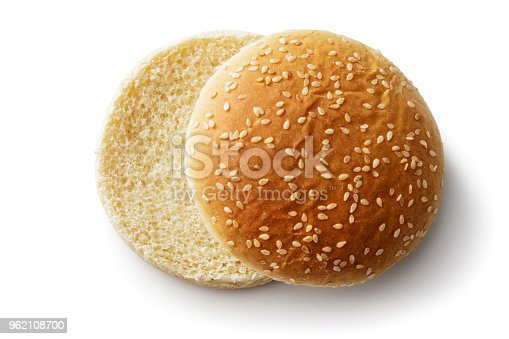 Bread: Hamburger Bun Isolated on White Background