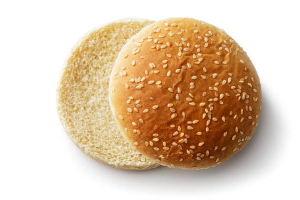 Bread: Hamburger Bun Isolated on White Background stock photo