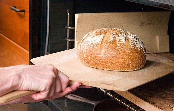 Bread hot out of the oven stock photo