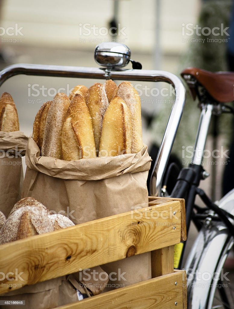 Bread in a bike royalty-free stock photo