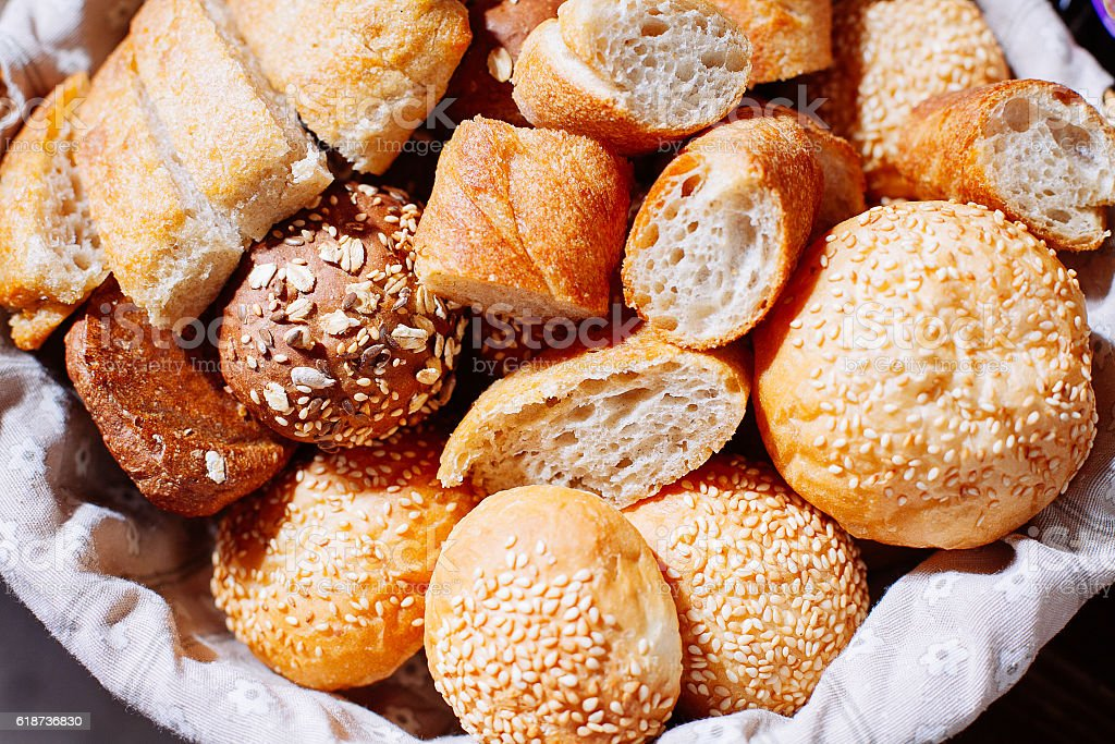 Bread in basket on the banquet table stock photo