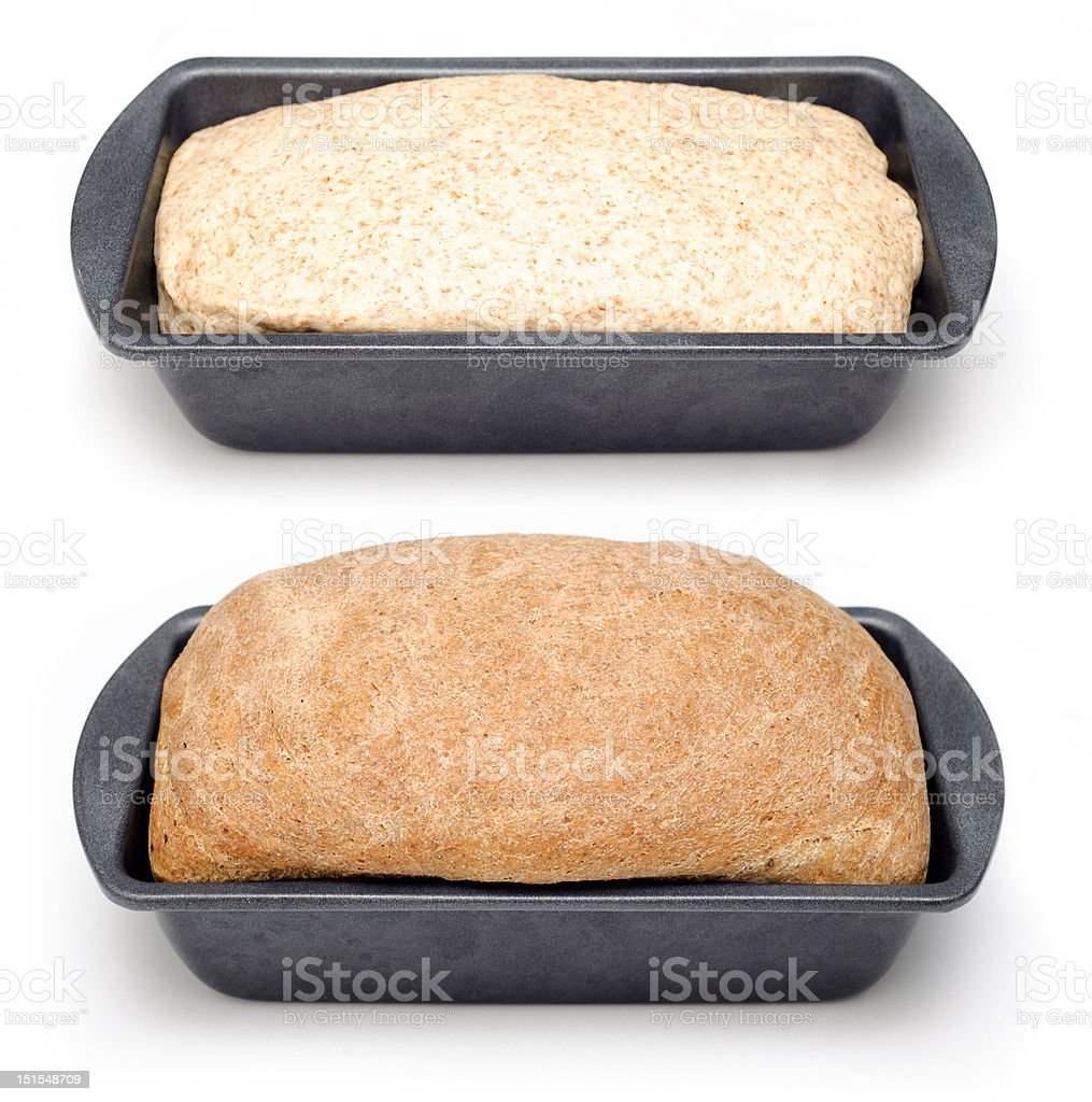 Bread loaf before and after baking royalty-free stock photo