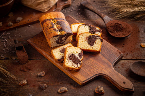 Bread loaf with cocoa stock photo