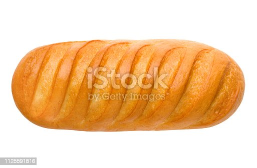 bread, long loaf, isolated on white background, clipping path, full depth of field