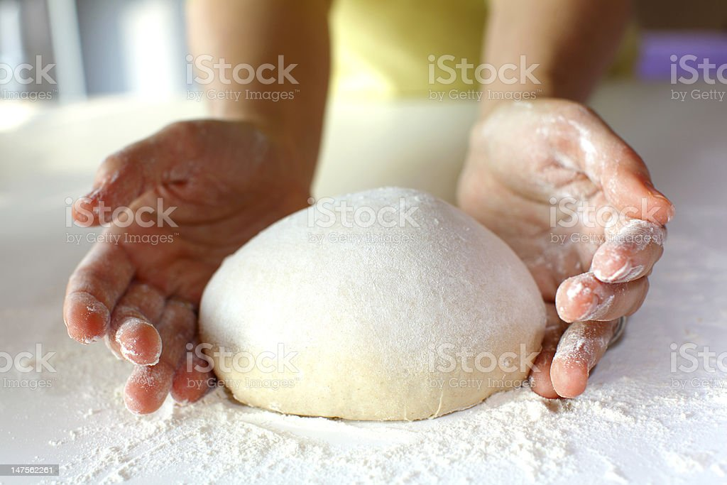 Bread making and kneading stock photo