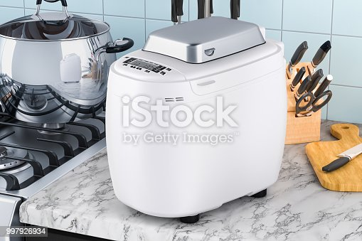istock Bread making machine on the kitchen table. 3D rendering 997926934