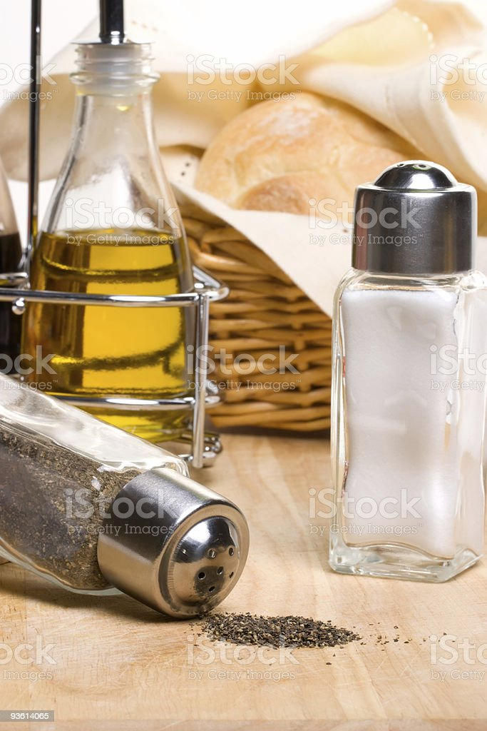 Bread, olive oil and spices royalty-free stock photo