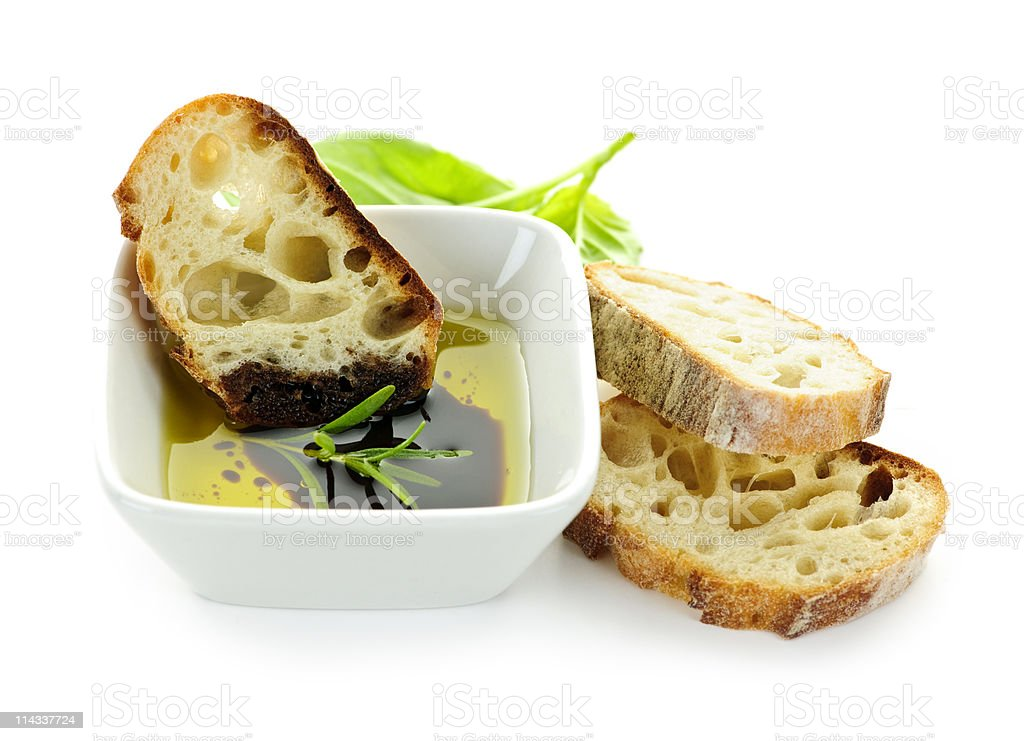 Bread olive oil and vinegar stock photo