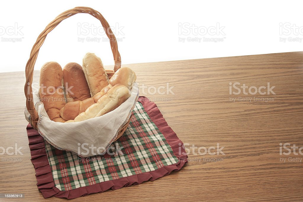 Bread on a basket royalty-free stock photo