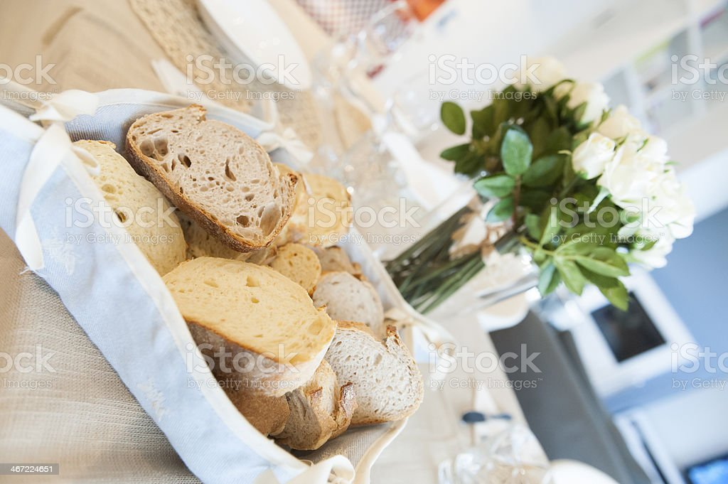 Bread on table stock photo