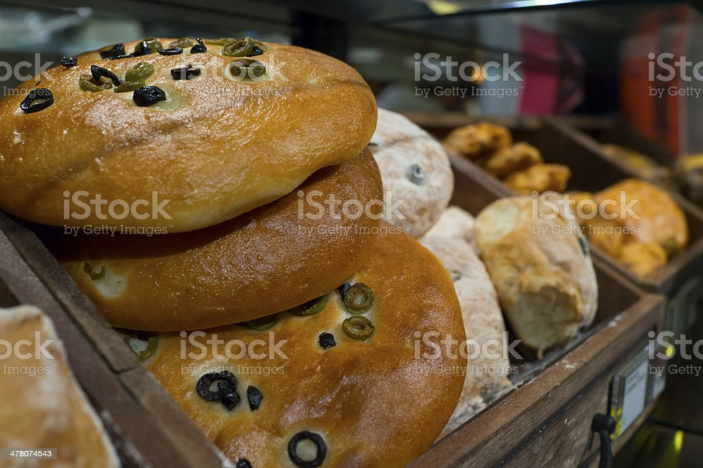 Bread on wood shelf royalty-free stock photo